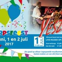 Poster Vledderveen, aankondiging dorpsfeest en live muziek