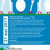 Flyer voor lopend buffet, kookclub Vledderveen